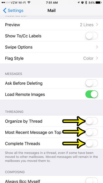 how to turn off email threading on iphone 7