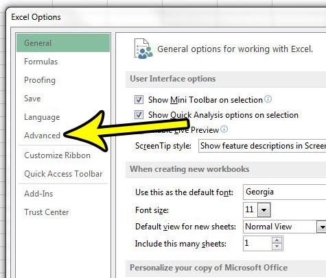 advanced tab in excel options menu