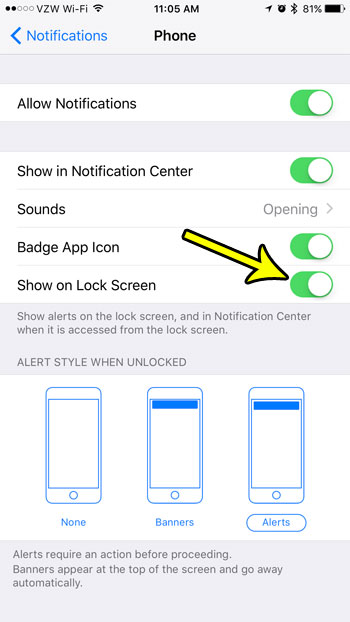 how to show missed calls on the iphone 7 lock screen