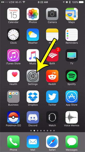 open iphone settings