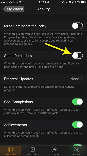 how to turn off stand reminders on apple watch