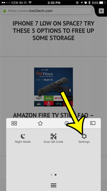 open the firefox settings menu