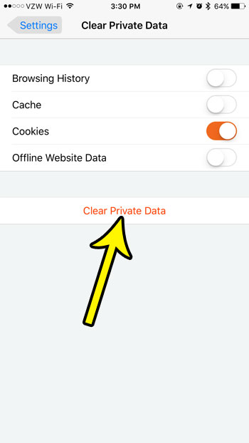 clear private data from firefox iphone app