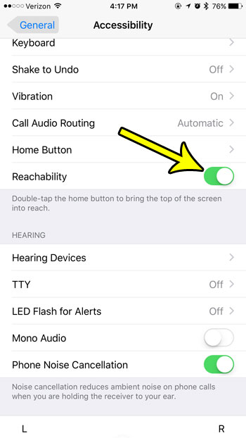 how to enable reachability on an iphone 7