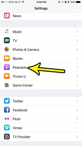 iphone podcast menu