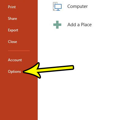 open powerpoint options menu