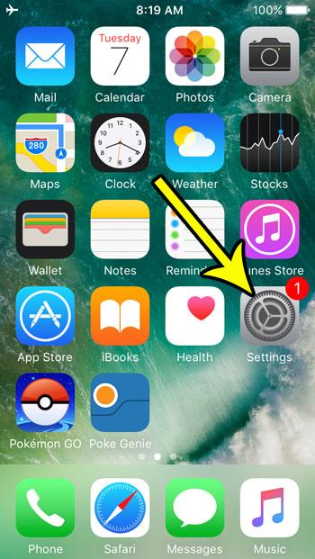 open the settings app