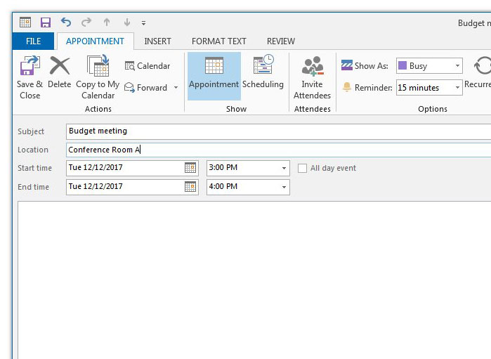 how to create an appointment in outlook 2013