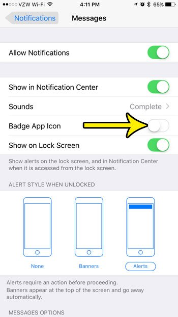 how to disable the badge app icon for the iphone messages app