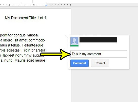 how to add a comment in google docs