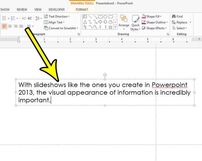 select a text box in powerpoint 2013