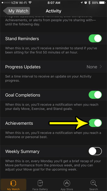 how to enable achievements in the apple watch activity app
