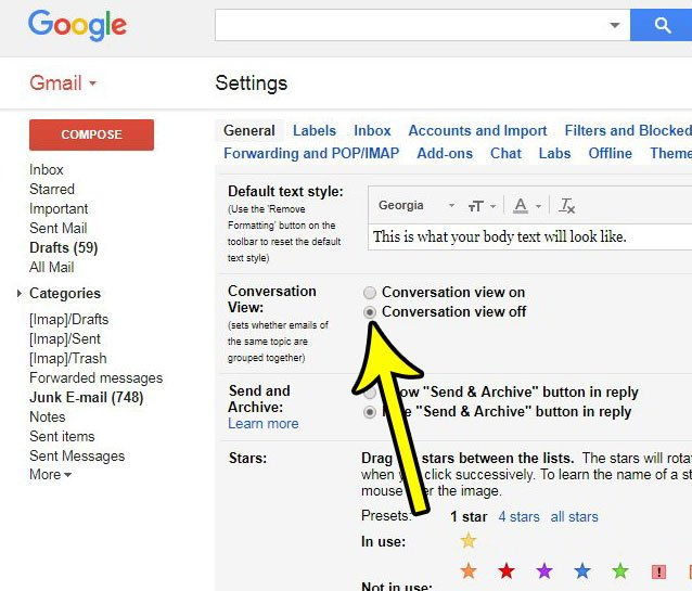 how to disable conversation view in gmail