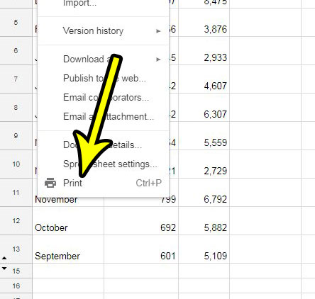open the google sheets print menu