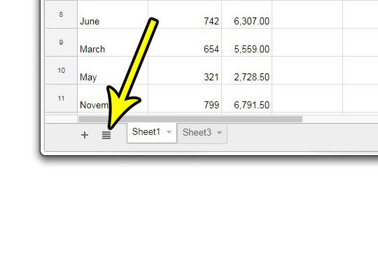 open the all sheets menu in google sheets