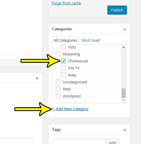 how to put a post into a category in wordpress