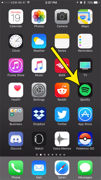 tap the spotify app icon