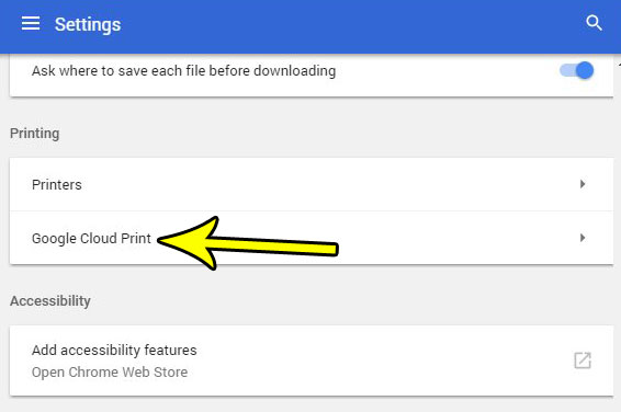 open google cloud print settings