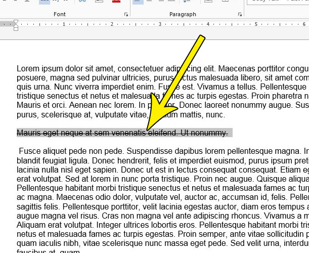 select the text with strikethrough in it in word 2013