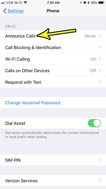 how to get your iphone to tell you who's calling