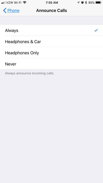 how to announce incoming calls on an iPhone 7