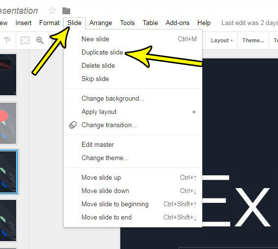 how to duplicate a slide in google slides