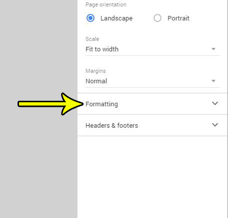 google sheets formatting tab