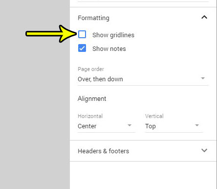 gridline setting on google sheets print menu
