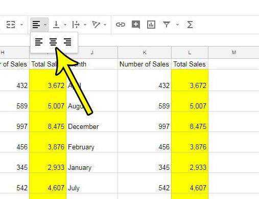 how center data horizontally google sheets