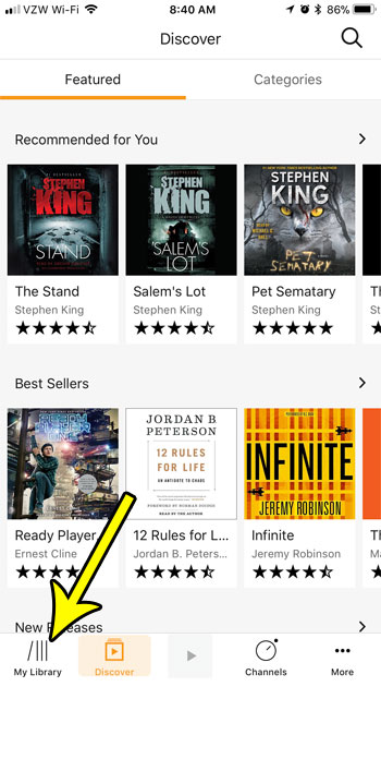 open audible iphone library tab