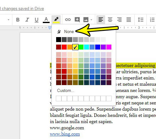 how remove text highlighting google docs