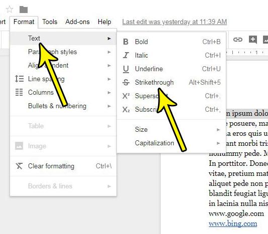 how draw line through text google docs