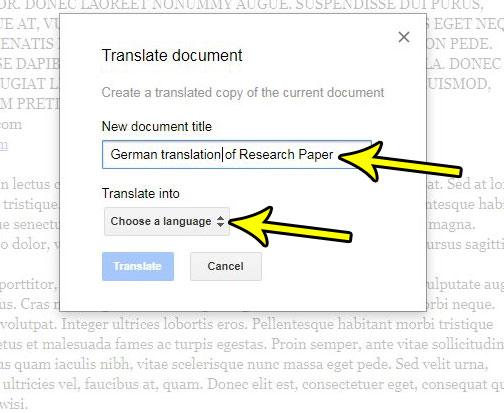 google docs translate to different language