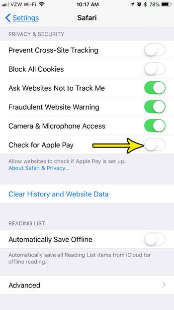 how disable apple pay safari iphone