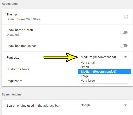 how to use a bigger font size in google chrome
