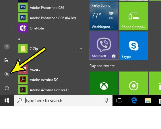 open windows 10 settings menu