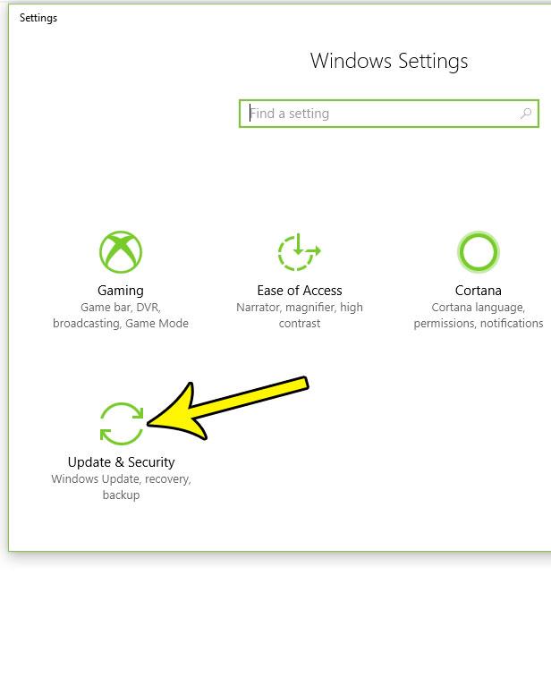 windows 10 updates and security menu