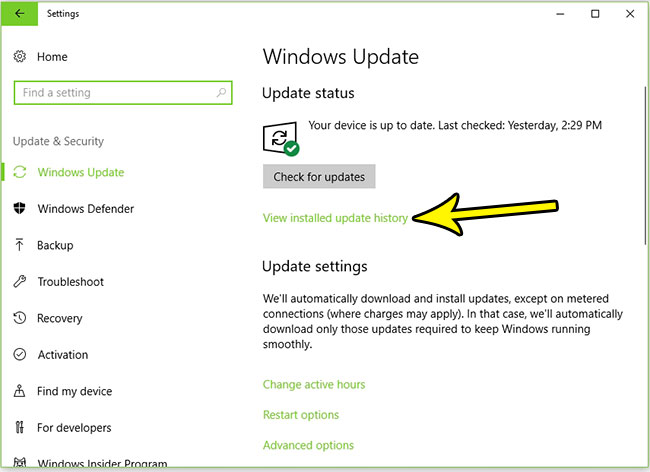 see recently installed window updates