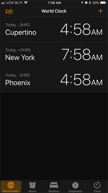 how to add a new city to the clock app iphone