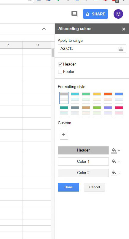 how to apply alternating colors in google sheets