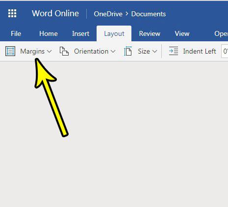 how to make smaller or bigger margins in word online