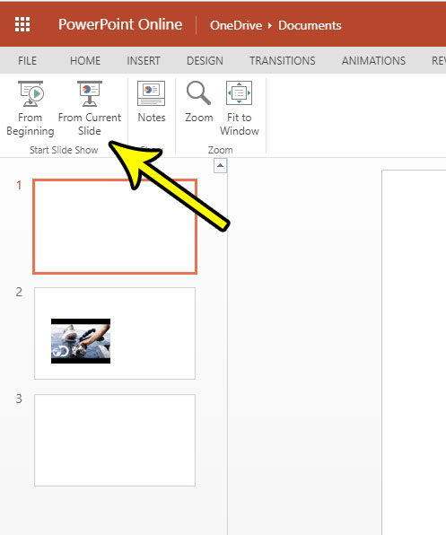 how to play a slideshow in powerpoint online