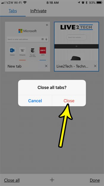 how to close all tabs at once in the iphone edge app