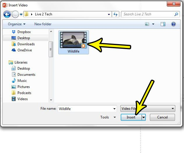 select local video to embed, then click the insert button