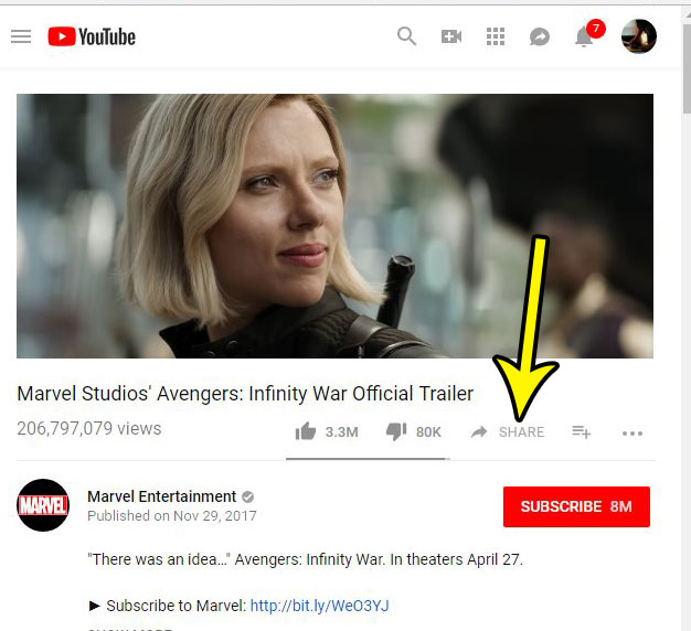 click share button under youtube video