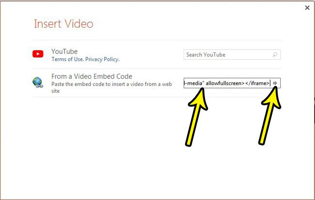 paste the youtube embed code into the field