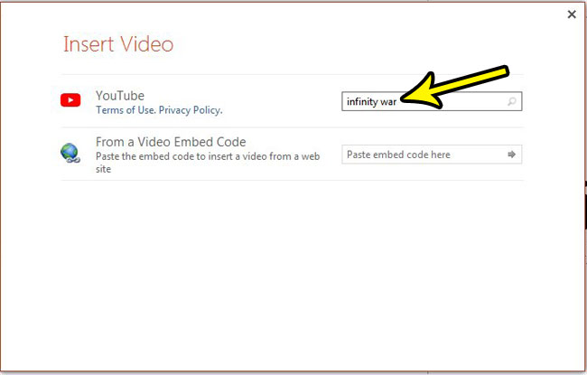 type a search term for the youtube video to embed