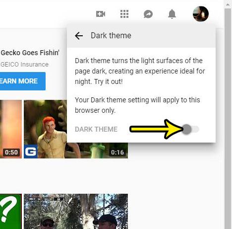 turn on the youtube dark theme