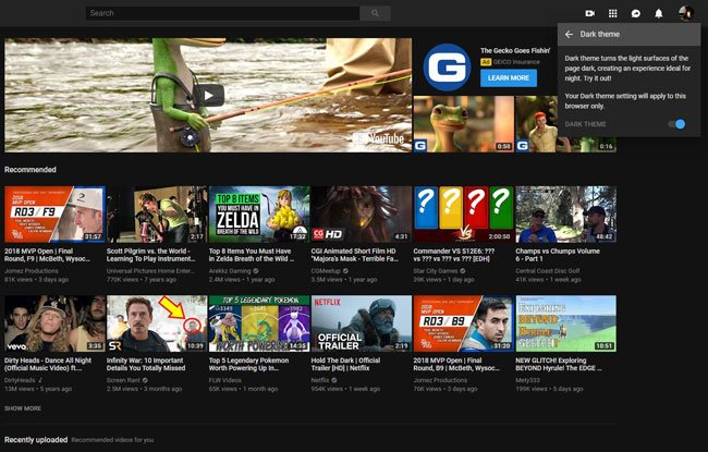 how to enable dark mode in a youtube desktop web browser