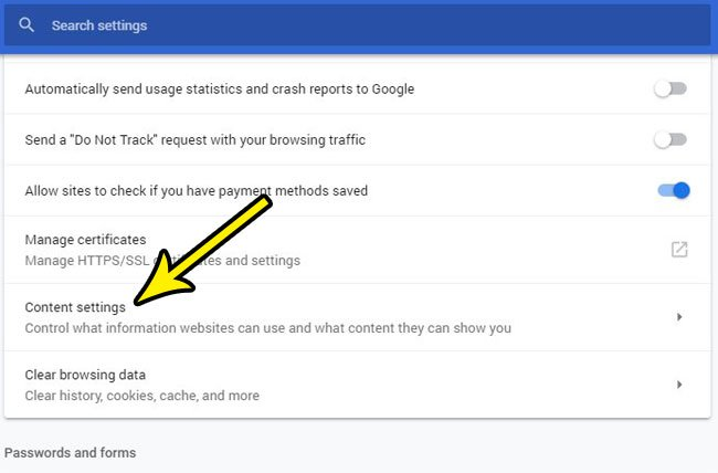 open google chrome content settings